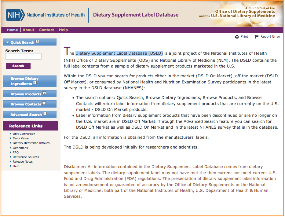 US: Dietary Supplement Label Database (DSLD)