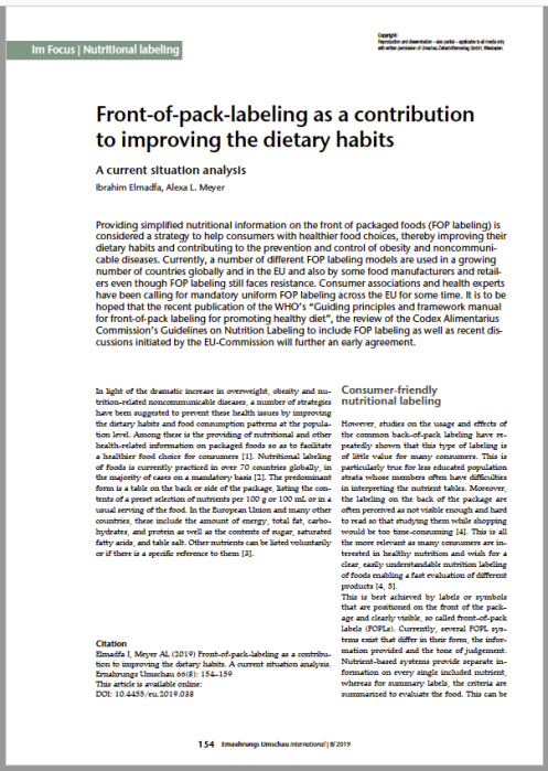 Front-of-pack-labeling as a contribu-tion to improving the dietary habits. A current situation analysis