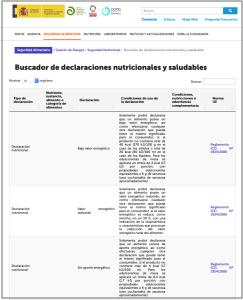 AESAN - Buscador de declaraciones nutricionales y saludables. Reglamento 1924/2006